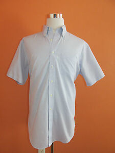 Brooks Brothers 346 Non-Iron Size 16 12 Blue Plaid Short Sleeve Sport Shirt