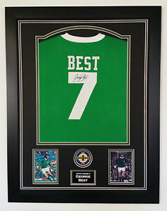 ** Rare GEORGE BEST of Northern Ireland Signed Shirt Autograph DISPLAY  **