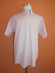 Brooks Brothers 346 Non-Iron Size L Pink Plaid Short Sleeve Sport Shirt