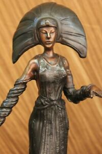 Detailed REAL BRONZE ABSTRACT FEMALE SCULPTURE *SIGNED* MID CENTURY FIGURINE $199.00