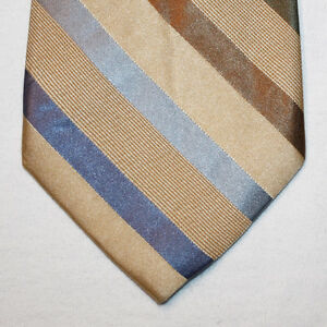 NEW 60 Merona Silk Neck Tie Beige with Blue, Olive Green and Brown Stripes 1459