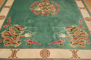 Cir 1960's MINT ART DECO CHINESE DRAGON DESIGN RUG 8.1x11.2 ROOM SIZE_SOFT WOOL