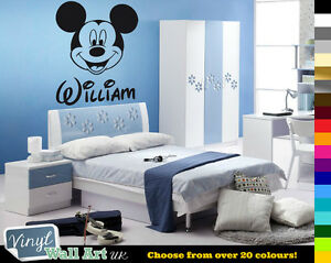 PERSONALISED Kids Name MICKEY MOUSE Disney Vinyl Wall Art Sticker Decal FREE Pamp;P
