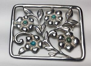Ornate MADE IN MEXICO SILVER Sterling amp; Turquoise Flowers 17 Grams $52.00