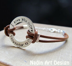 Personalized Washer Bracelet for Men Brown Custom Engraved for men Engraved cuff