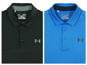 (2) UNDER ARMOUR Polo Shirt Lot SMALL LOOSE Blue Charcoal Black Heat Gear Golf