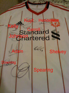 Liverpool 2010 Signed Adidas Away Shirt BNWT Carroll Spearing Kuyt Johnson
