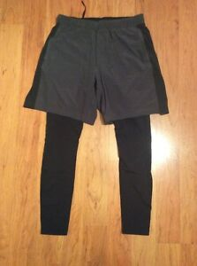 Lululemon Men's Surge Tight 2 in 1 Pants Shorts Hyper Harageo Black Gray Size L