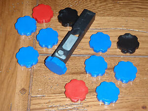30 red black and blue rosette knobs for Dillon powder bars; choice of colors