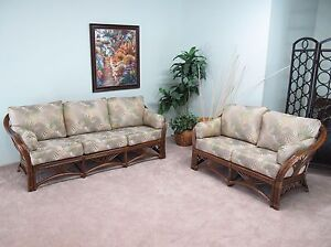 Rattan Living Room Furniture Sofa and Loveseat 2 Piece Set $1999.00