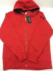NWT Men's Under Armour Charged Cotton Storm Full Zip Hoodie 1239463 Red XL Tall
