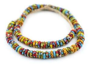 Cape Coast Fused Rondelle Recycled Glass Beads 11mm Ghana African Multicolor $12.50