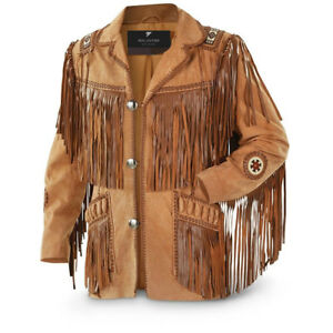 Men#x27;s Traditional Cowboy Western Leather Jacket coat With Fringe Bone and Beads