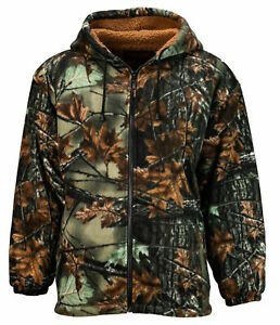 TrailCrest Sherpa Lined Green Camo Fleece Camouflage Men#x27;s Hunting Jacket M 3X