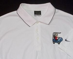 Nike Golf ~ Fit Dry ~ Mens White Golf Polo Shirt XL~ Golf Cart logo