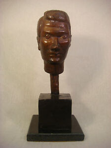 BRONZE AFTER DIEGO GIACOMETTI SCULPTURE MAN HEAD 99 LE SIGNED NUMBERED