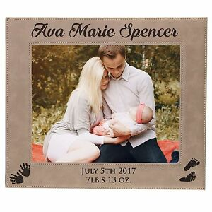 Personalized New Baby Picture Frame 4x6 - Custom Engraved Photo Gift For Nursery