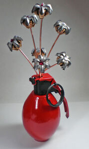 Bullets and Grenade Flower Vase Birthstone Bouquet Expanded Bullet Flowers Red