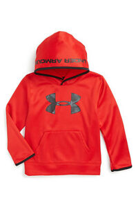 New WTag Under Armour 'Big Logo Camo Hoodie' for Boys size:4 color: Red