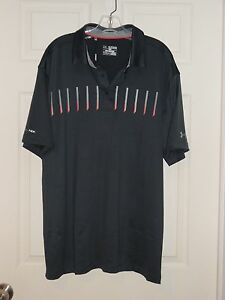 NEW UNDER ARMOUR GOLF LOOSE COLD BLACK POLO SHIRT SIZE 2XL NWT $69.99