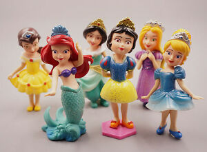 6 Disney Princess Cinderella Rapunzel Belle Ariel Snow White Action Figures Toy