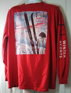 Polo by Ralph Lauren VINTAGE Polo Winter Sports BIG XL  2XL Shirt w HOLES