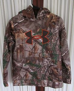 Under Armour Boys Fleece Camo Hoodie Realtree Big Logo Brown YLG Large NWT