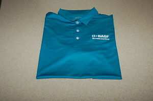 NIKE CUSTOM BASF GOLF POLO SHIRT men blue large dri fit pga