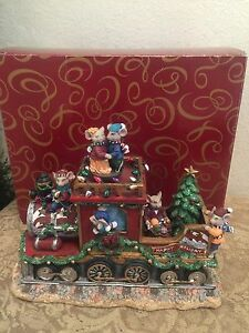 Animated Mouse Train Music Box Company We Wish You a Merry Christmas Light Up