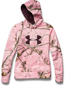 NWT UNDER ARMOUR Women's CAMO Big Logo Hoodie 1265757 Pink Real Tree AP 2XL
