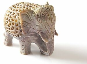 Stone Lucky Baby Elephant Figurine Animal Statue in Jali Or Openwork Home Decor $18.49