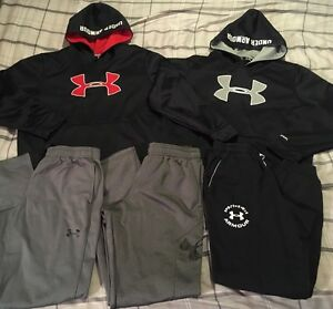 Lot of Boys Under Armour Hoodies & Pants Size Youth Large