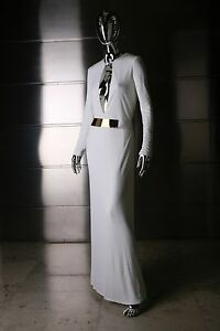 GUCCI TOM FORD ICONIC WHITE DRESS WITH GOLD BELT FALL 96