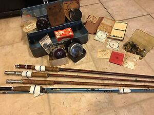 Vintage-antique fly Rods(4) and Reels(4) with Tackle Box Hand Tied Flys Leader