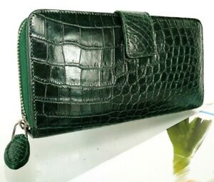 Genuine Crocodile Real Leather Women Purse Wallet Zipper Magnet Alligator Clutch