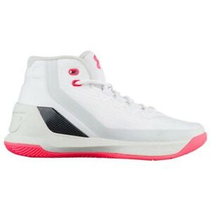 UNDER ARMOUR UA Kids Girls Boys Curry 3 Basketball Shoes Sneakers White Pink