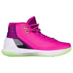 UNDER ARMOUR UA Kids Girls Boys Curry 3 Basketball Shoes Sneakers Pink Purple