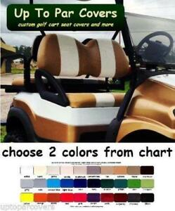 ClubCar, E-Z-Go, Yamaha Golf Cart Front Seat Cover Set (FLAT STRIPE) - STAPLE ON