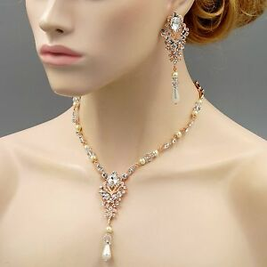 Pearl Crystal Necklace Earrings Wedding Jewelry Set 00486 Handmade ROSE GOLD GP
