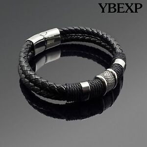Men#x27;s Stainless Steel Leather Bracelet Magnetic Silver Clasp Bangle Black