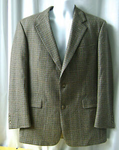 BURBERRY Wool Sports Coat Jacket 40R 2 Button 1 Back Vent Houndstooth Bluebrown