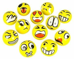 12 PCS FUN EMOJI EMOTICON 3quot; SQUEEZE BALLS STRESS RELIEVER GIFT TOY USA SELLER
