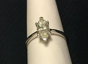 14 Karat White Gold Filled Engagement Ring 1 Carat Marquise Solitaire Diamond