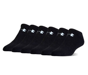Under Armour UA Charged Cotton® 2.0 No Show 6 pack Men's Black Athletic Socks $20.00