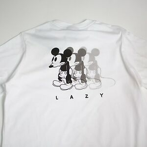 $55 Lazy Oaf x Disney Men Waiting In Line Tee white