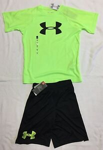 Boys Under Armour Shirt And Shorts in Bright Yellow And Black Sz YLYM *NWT*