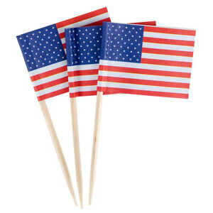 100 American Flag Toothpicks 4th July Party Patriotic Appetizer Cupcake USA b5