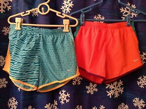 2 NIKE GIRLS SIZE SMALL MULTI COLOR RUNNING SHORTS NWT