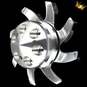 Billet Chevy Alternator Bullet Nose Pulley Comes with Polished Aluminum Fan
