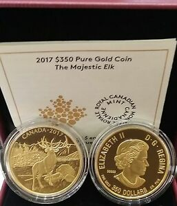 0.99999 Pure Gold Proof Coin Canada $350 2017 Majestic Elk 35grams 34mm diameter